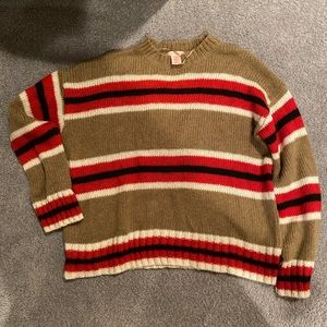 urban outfitters striped red and tan sweater